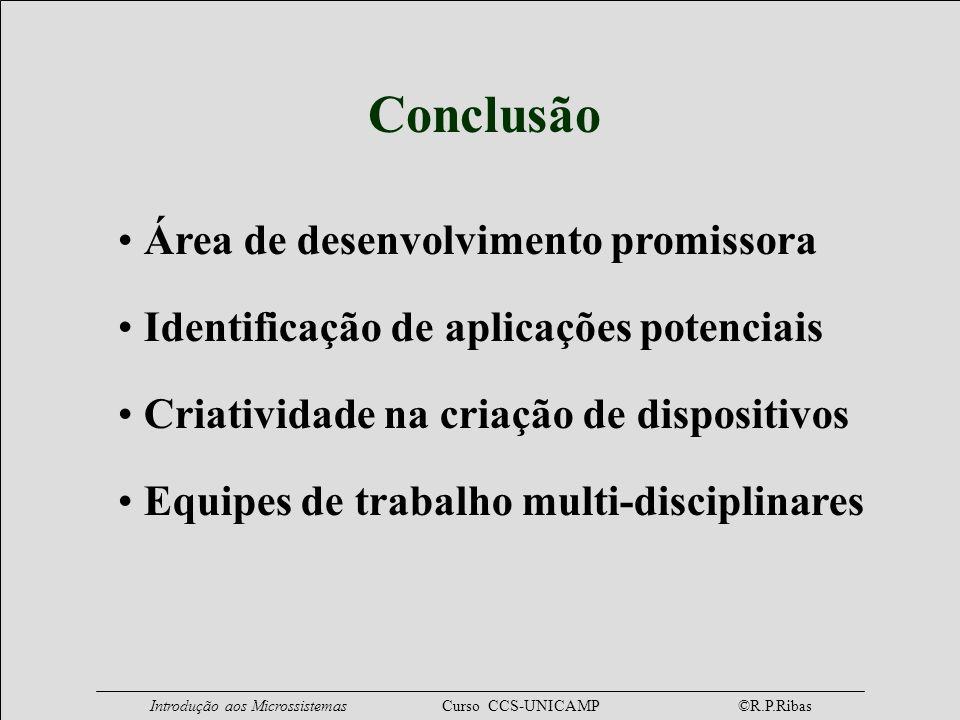 Introdução aos Microssistemas Curso CCS-UNICAMP ©R.P.Ribas Conclusão Área de desenvolvimento promissora Identificação de aplicações potenciais Criativ