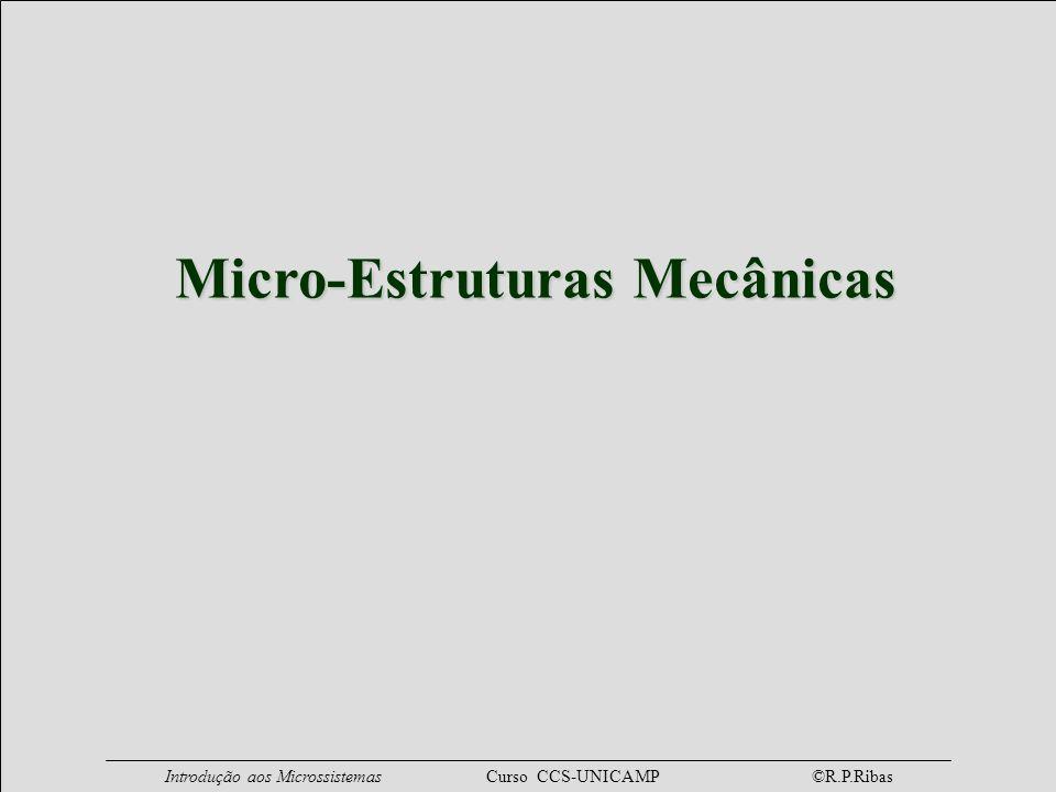 Introdução aos Microssistemas Curso CCS-UNICAMP ©R.P.Ribas Estrutura Comb Drive x y parte fixa massa móvel acelerômetro filtro mecânico atuadores ressonantes