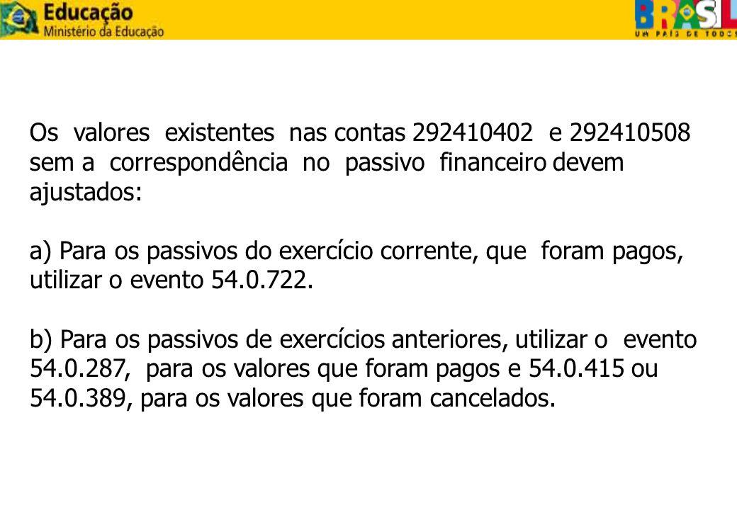 Os valores existentes nas contas 292410402 e 292410508 sem a correspondência no passivo financeiro devem ajustados: a) Para os passivos do exercício c