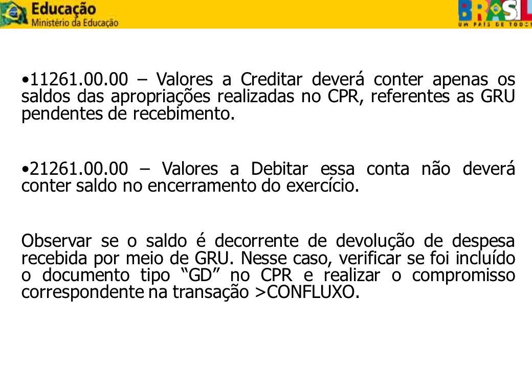 11261.00.00 – Valores a Creditar deverá conter apenas os saldos das apropriações realizadas no CPR, referentes as GRU pendentes de recebimento. 21261.