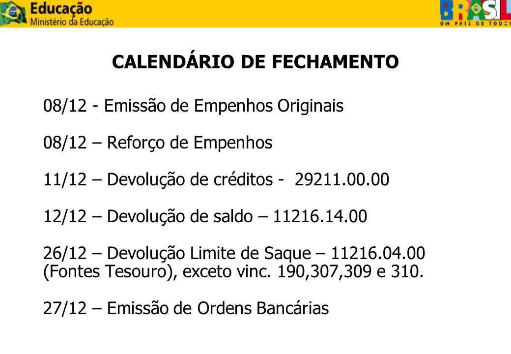 CALENDÁRIO DE FECHAMENTO 08/12 - Emissão de Empenhos Originais 08/12 – Reforço de Empenhos 11/12 – Devolução de créditos - 29211.00.00 12/12 – Devoluç