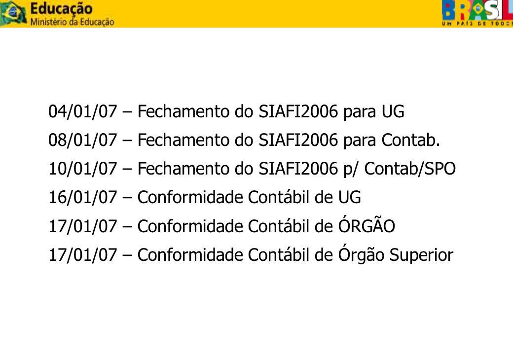 04/01/07 – Fechamento do SIAFI2006 para UG 08/01/07 – Fechamento do SIAFI2006 para Contab. 10/01/07 – Fechamento do SIAFI2006 p/ Contab/SPO 16/01/07 –