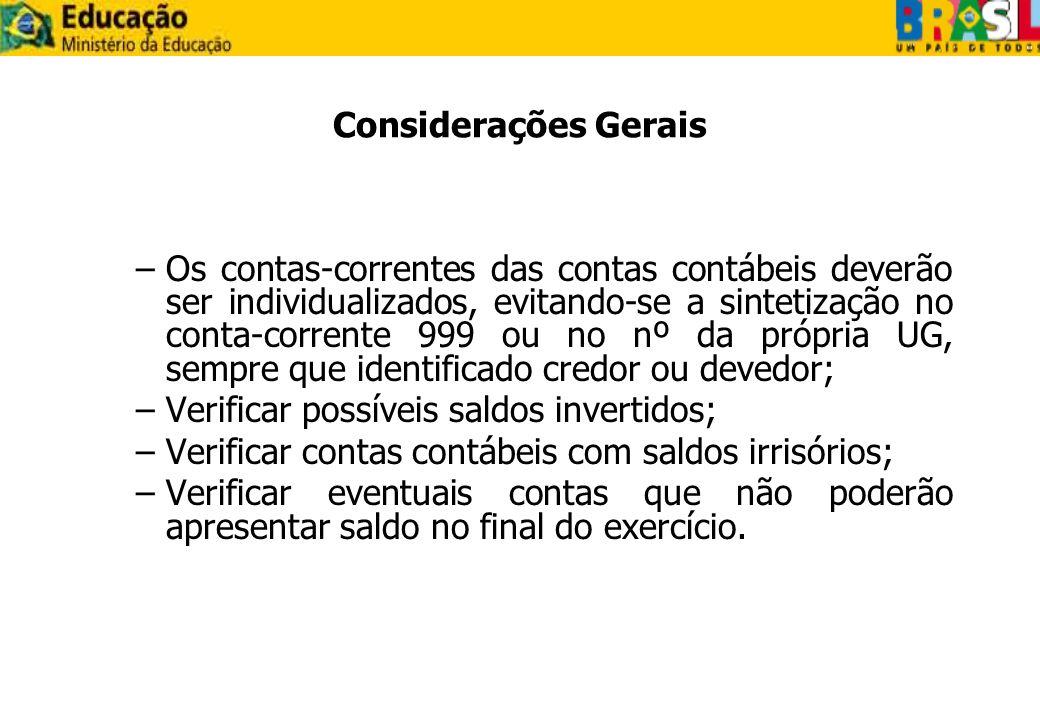 Considerações Gerais –Os contas-correntes das contas contábeis deverão ser individualizados, evitando-se a sintetização no conta-corrente 999 ou no nº