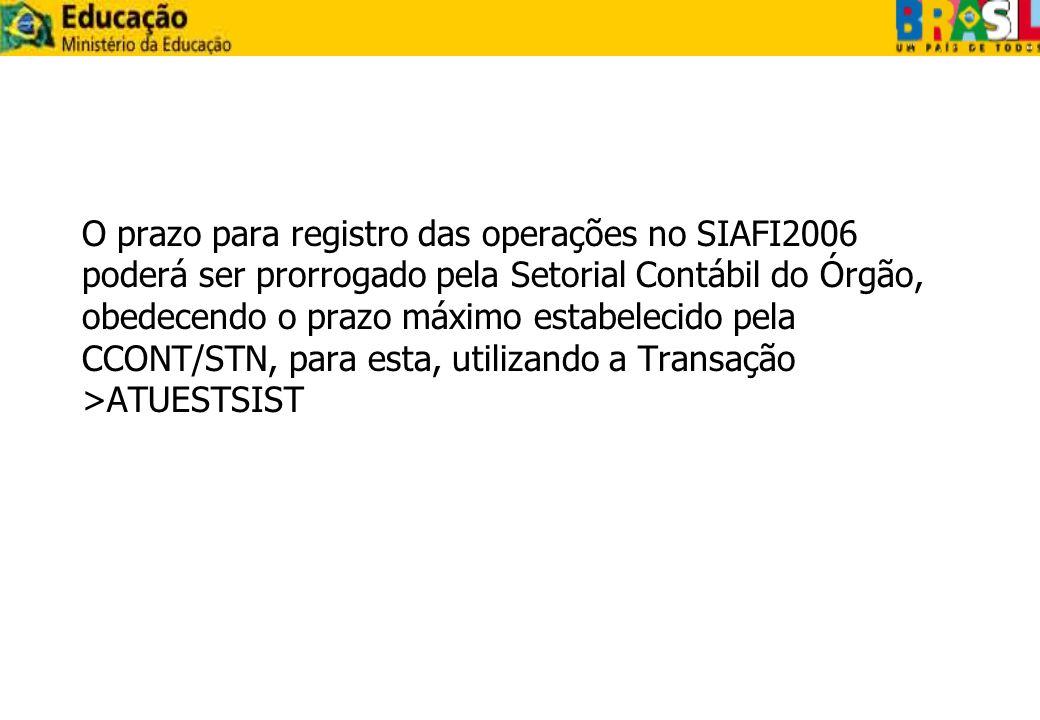 O prazo para registro das operações no SIAFI2006 poderá ser prorrogado pela Setorial Contábil do Órgão, obedecendo o prazo máximo estabelecido pela CC