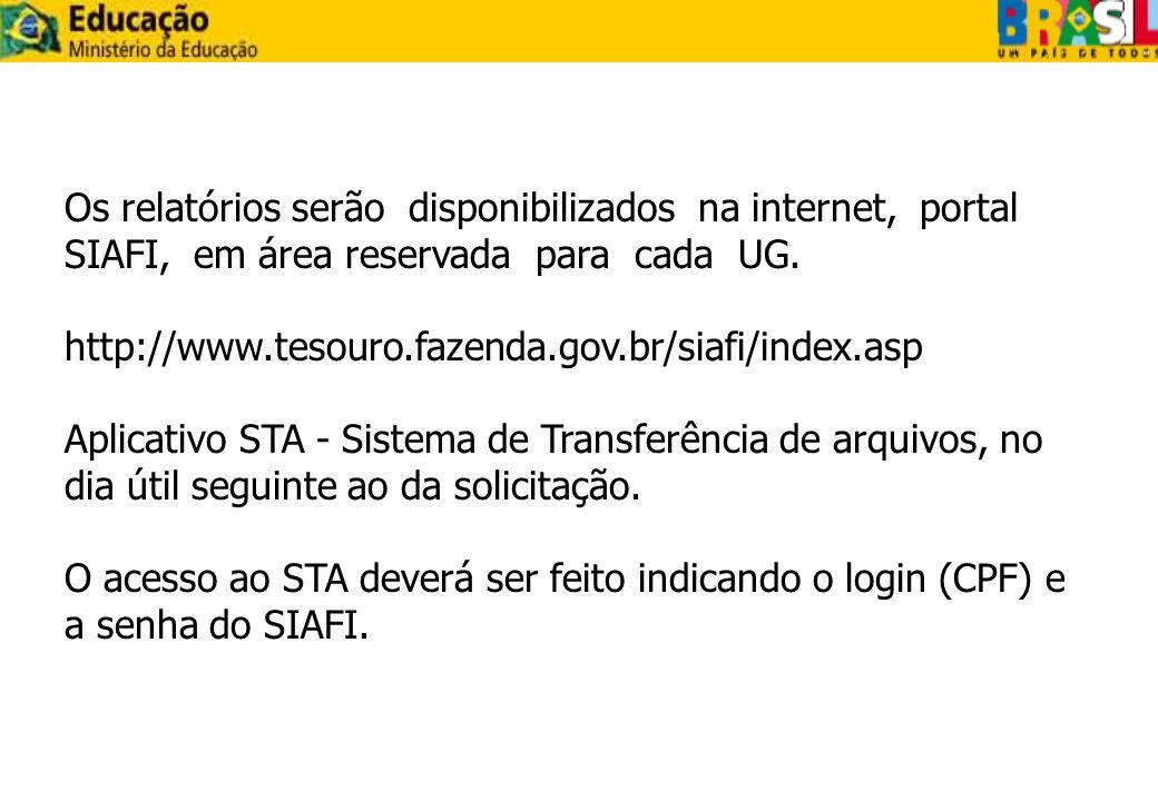 Os relatórios serão disponibilizados na internet, portal SIAFI, em área reservada para cada UG. http://www.tesouro.fazenda.gov.br/siafi/index.asp Apli