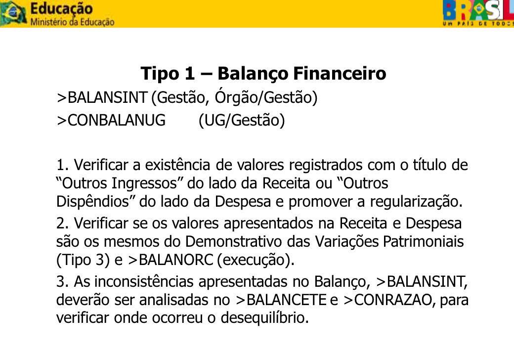 Tipo 1 – Balanço Financeiro >BALANSINT(Gestão, Órgão/Gestão) >CONBALANUG(UG/Gestão) 1. Verificar a existência de valores registrados com o título de O