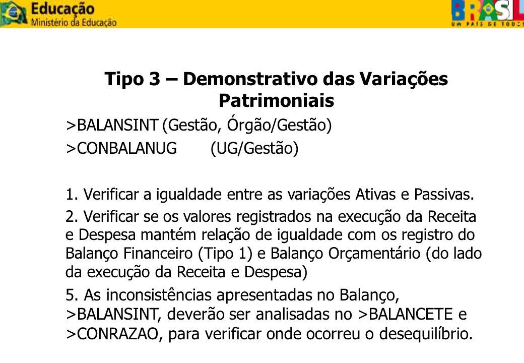 Tipo 3 – Demonstrativo das Variações Patrimoniais >BALANSINT(Gestão, Órgão/Gestão) >CONBALANUG(UG/Gestão) 1. Verificar a igualdade entre as variações