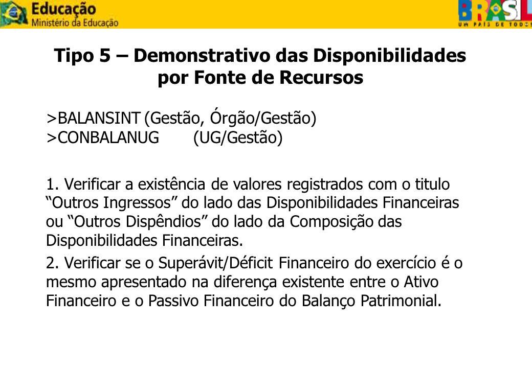 Tipo 5 – Demonstrativo das Disponibilidades por Fonte de Recursos >BALANSINT(Gestão, Órgão/Gestão) >CONBALANUG(UG/Gestão) 1. Verificar a existência de