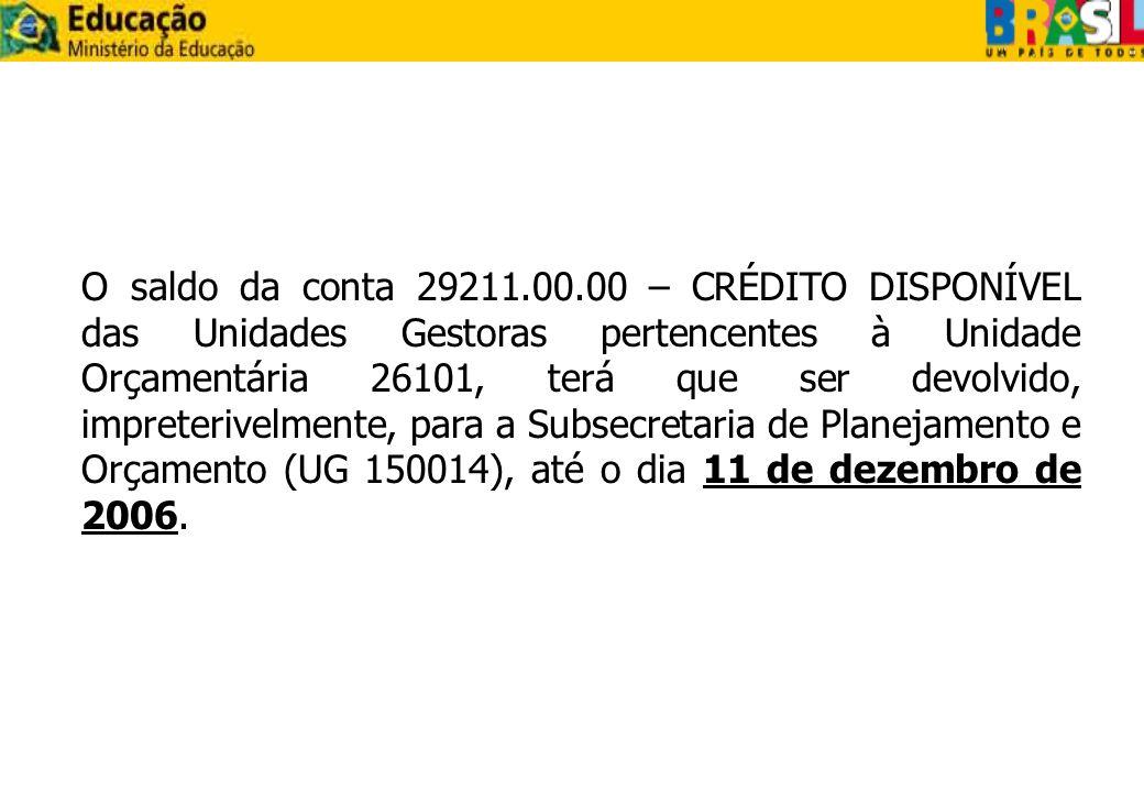 O saldo da conta 29211.00.00 – CRÉDITO DISPONÍVEL das Unidades Gestoras pertencentes à Unidade Orçamentária 26101, terá que ser devolvido, impreterive