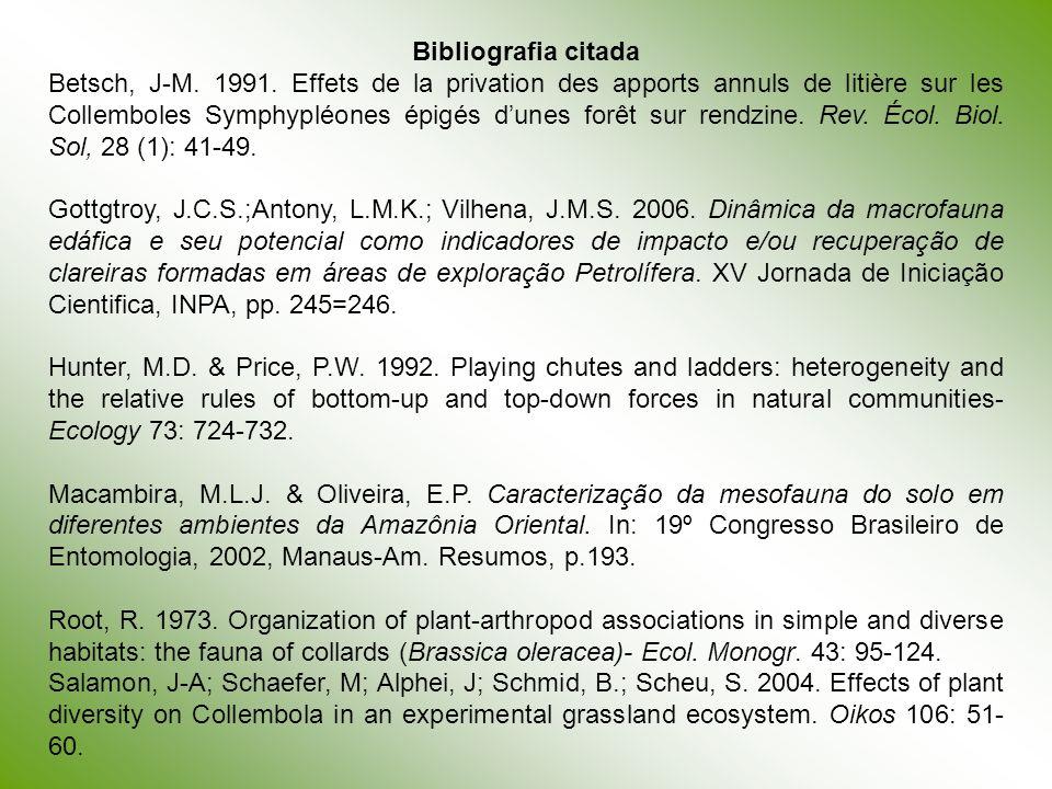 Bibliografia citada Betsch, J-M. 1991. Effets de la privation des apports annuls de litière sur les Collemboles Symphypléones épigés dunes forêt sur r