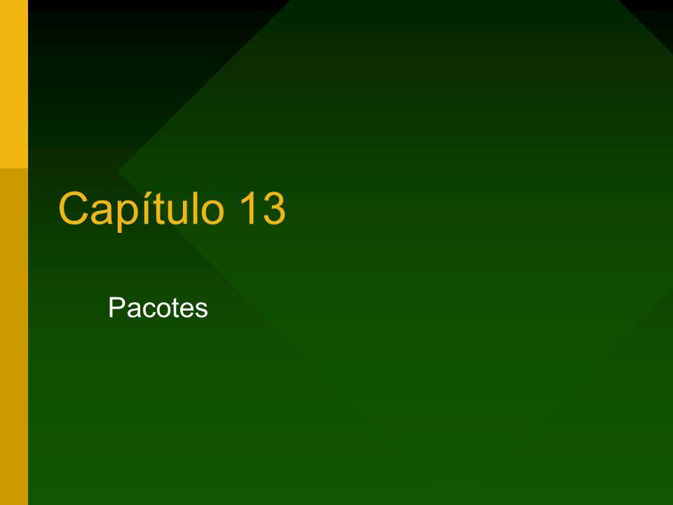 2 Capítulo 13 – Pacotes Pacotes Pacote Cláusula package Cláusula import Executando uma classe de pacote Modificadores de acesso