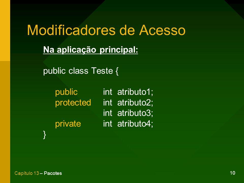 10 Capítulo 13 – Pacotes Modificadores de Acesso Na aplicação principal: public class Teste { publicint atributo1; protectedint atributo2; int atribut