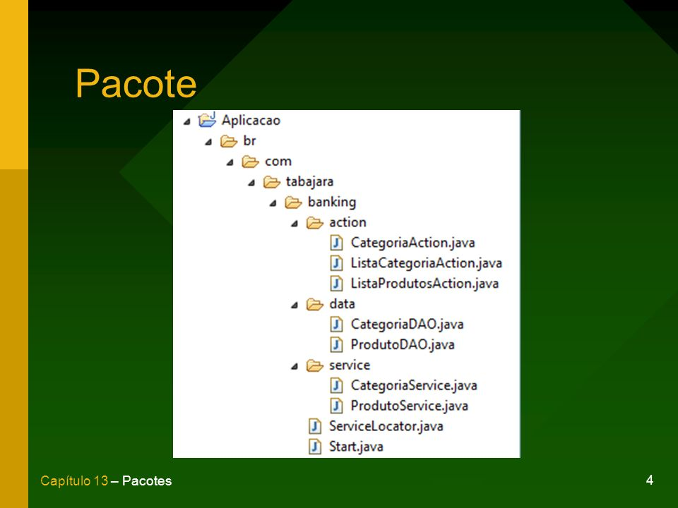 5 Capítulo 13 – Pacotes Cláusula package package br.com.tabajara.banking.service; public class ProdutoService {...