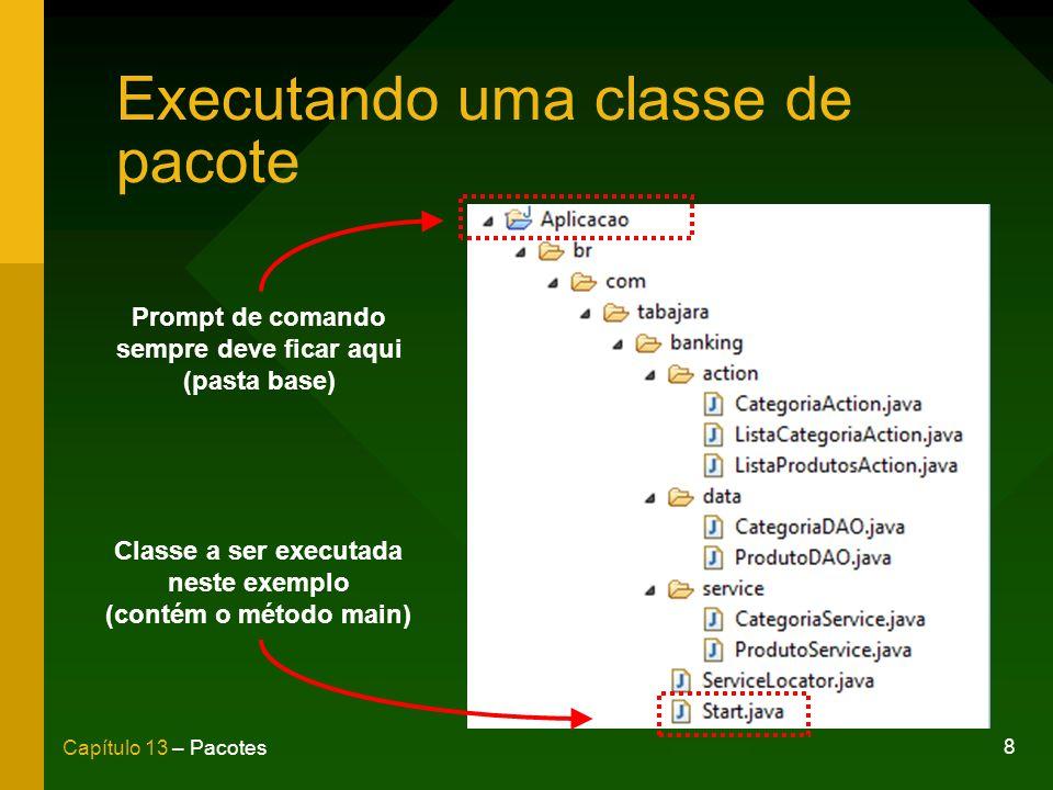 8 Capítulo 13 – Pacotes Executando uma classe de pacote Prompt de comando sempre deve ficar aqui (pasta base) Classe a ser executada neste exemplo (co