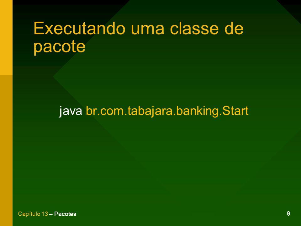 9 Capítulo 13 – Pacotes Executando uma classe de pacote java br.com.tabajara.banking.Start