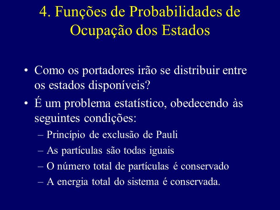 4. Funções de Probabilidades de Ocupação dos Estados Como os portadores irão se distribuir entre os estados disponíveis? É um problema estatístico, ob