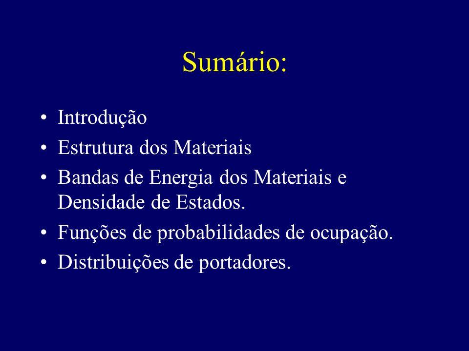 Sumário: Introdução Estrutura dos Materiais Bandas de Energia dos Materiais e Densidade de Estados. Funções de probabilidades de ocupação. Distribuiçõ