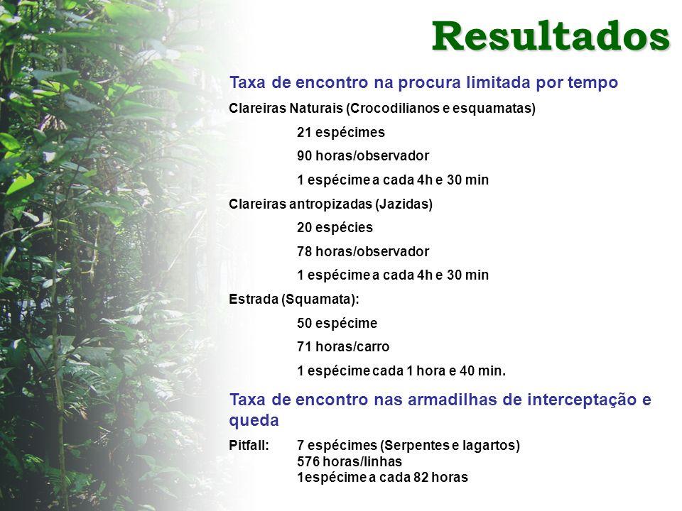 Resultados Taxa de encontro na procura limitada por tempo Clareiras Naturais (Crocodilianos e esquamatas) 21 espécimes 90 horas/observador 1 espécime