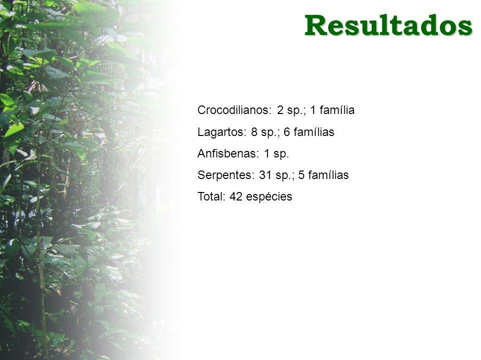 Resultados Crocodilianos: 2 sp.; 1 família Lagartos: 8 sp.; 6 famílias Anfisbenas: 1 sp. Serpentes: 31 sp.; 5 famílias Total: 42 espécies