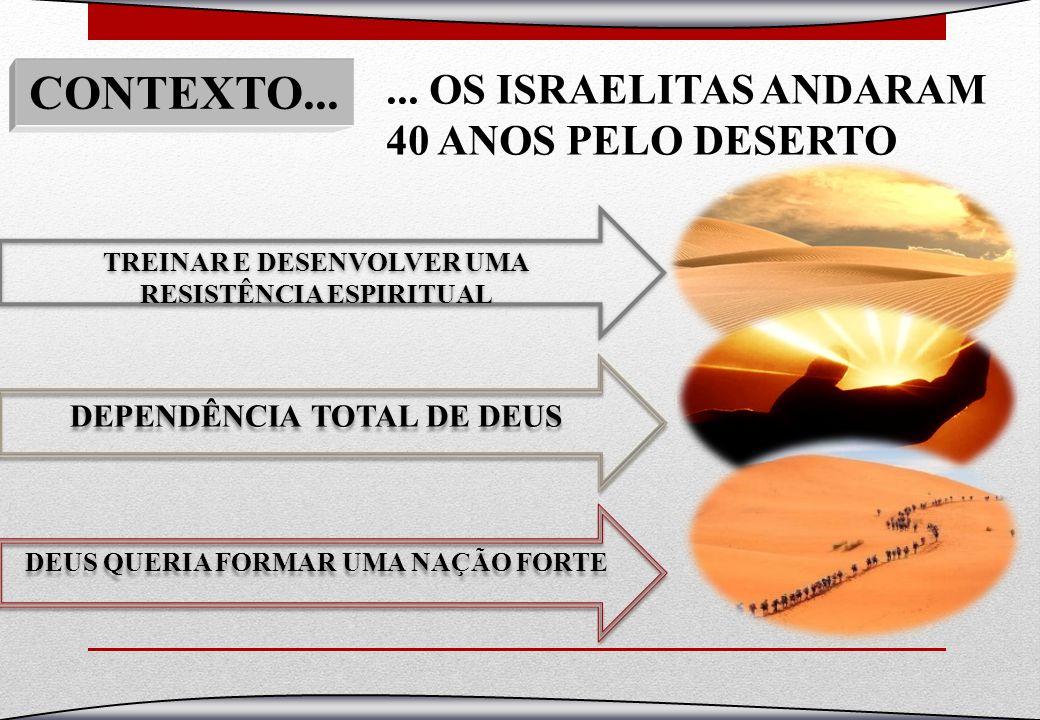 ... OS ISRAELITAS ANDARAM 40 ANOS PELO DESERTO TREINAR E DESENVOLVER UMA RESISTÊNCIA ESPIRITUAL TREINAR E DESENVOLVER UMA RESISTÊNCIA ESPIRITUAL DEPEN