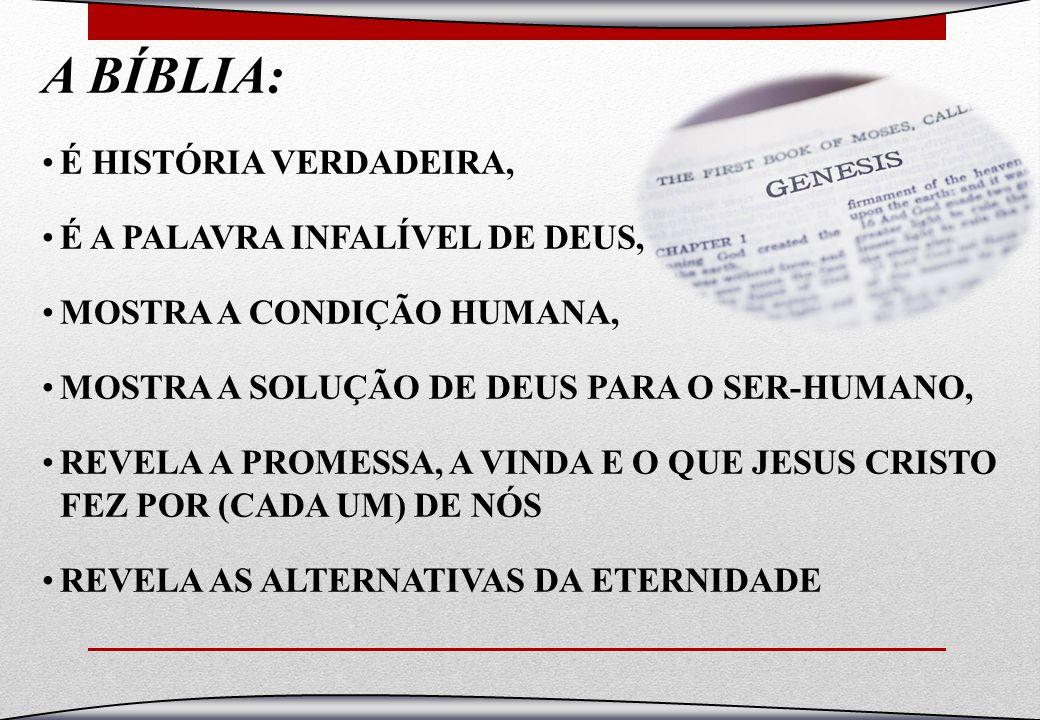 A BÍBLIA: É HISTÓRIA VERDADEIRA, É A PALAVRA INFALÍVEL DE DEUS, MOSTRA A CONDIÇÃO HUMANA, MOSTRA A SOLUÇÃO DE DEUS PARA O SER-HUMANO, REVELA A PROMESS
