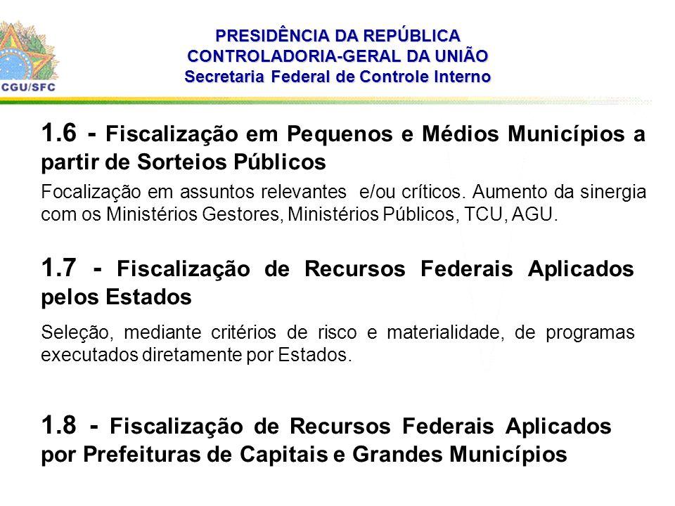 PRESIDÊNCIA DA REPÚBLICA CONTROLADORIA-GERAL DA UNIÃO Secretaria Federal de Controle Interno 1.6 - Fiscalização em Pequenos e Médios Municípios a partir de Sorteios Públicos Focalização em assuntos relevantes e/ou críticos.