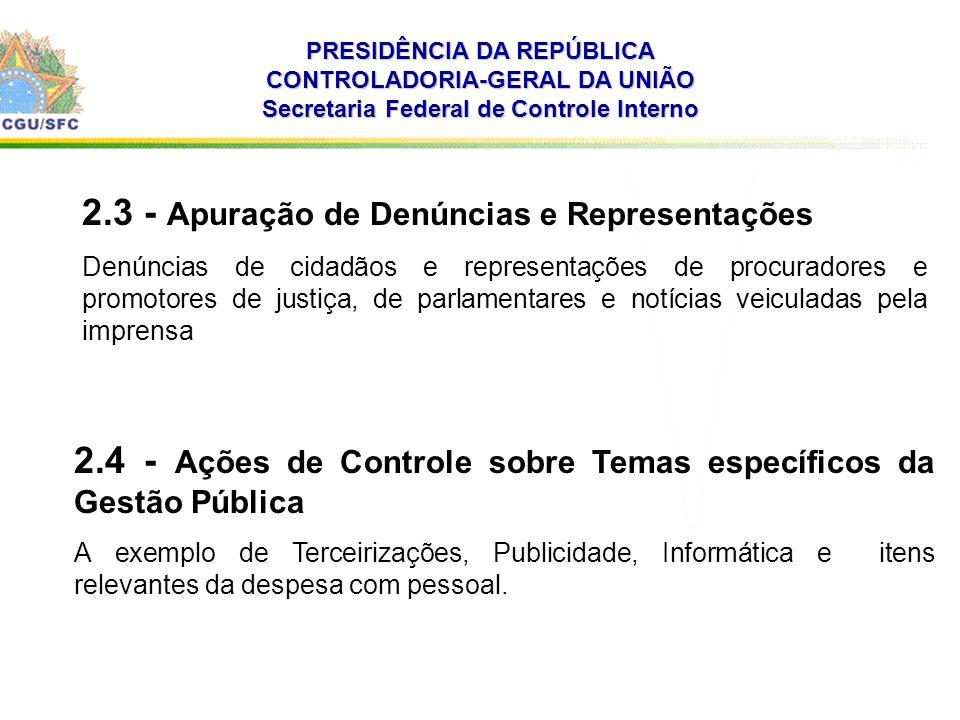 . PRESIDÊNCIA DA REPÚBLICA CONTROLADORIA-GERAL DA UNIÃO Secretaria Federal de Controle Interno 2.3 - Apuração de Denúncias e Representações Denúncias