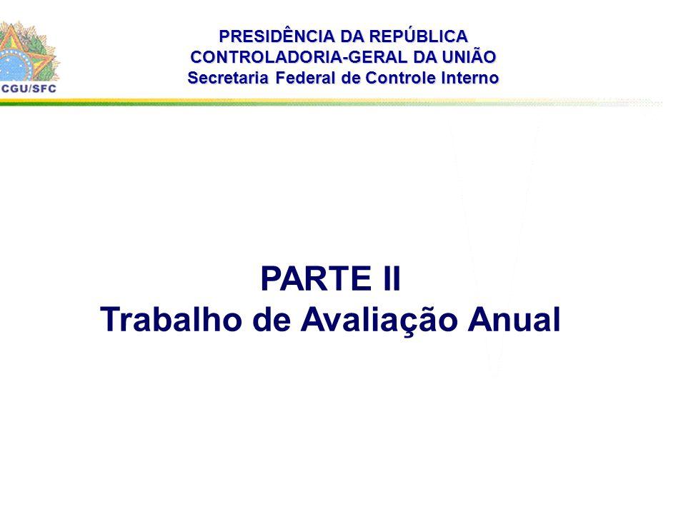 . PRESIDÊNCIA DA REPÚBLICA CONTROLADORIA-GERAL DA UNIÃO Secretaria Federal de Controle Interno PARTE II Trabalho de Avaliação Anual