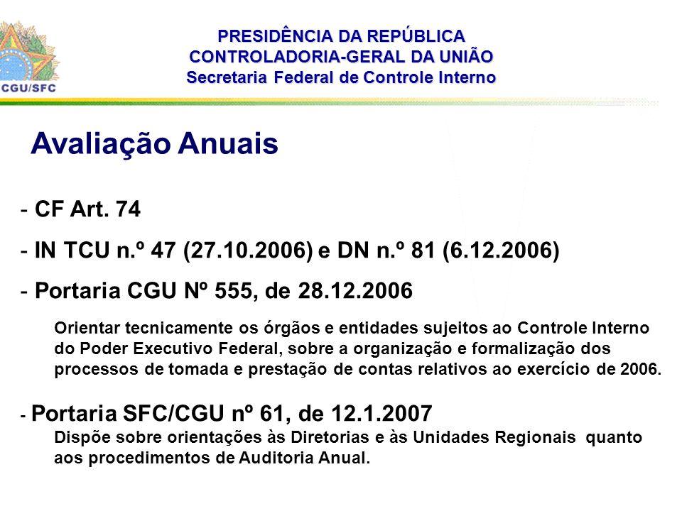 . PRESIDÊNCIA DA REPÚBLICA CONTROLADORIA-GERAL DA UNIÃO Secretaria Federal de Controle Interno - CF Art. 74 - IN TCU n.º 47 (27.10.2006) e DN n.º 81 (