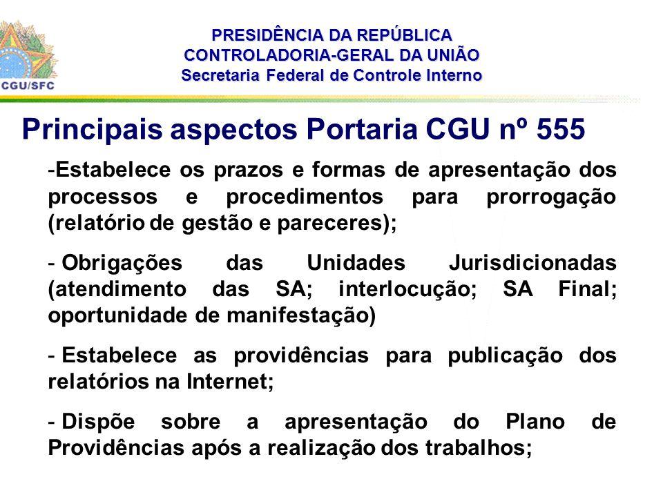 . PRESIDÊNCIA DA REPÚBLICA CONTROLADORIA-GERAL DA UNIÃO Secretaria Federal de Controle Interno -Estabelece os prazos e formas de apresentação dos proc