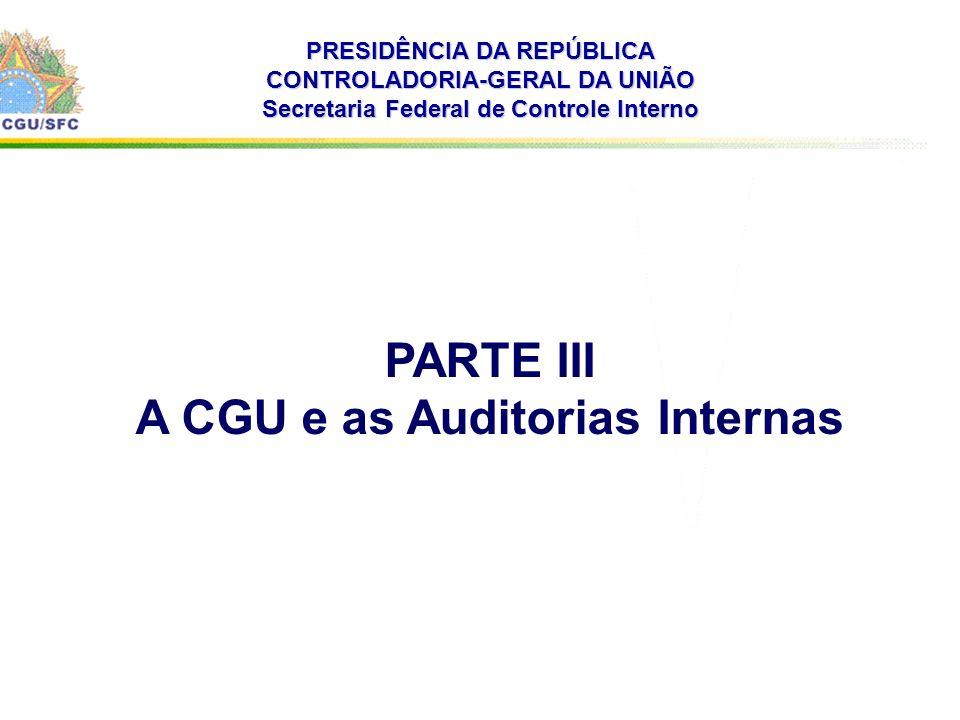 . PRESIDÊNCIA DA REPÚBLICA CONTROLADORIA-GERAL DA UNIÃO Secretaria Federal de Controle Interno PARTE III A CGU e as Auditorias Internas