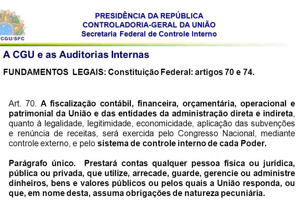 PRESIDÊNCIA DA REPÚBLICA CONTROLADORIA-GERAL DA UNIÃO Secretaria Federal de Controle Interno A CGU e as Auditorias Internas FUNDAMENTOS LEGAIS: Constituição Federal: artigos 70 e 74.