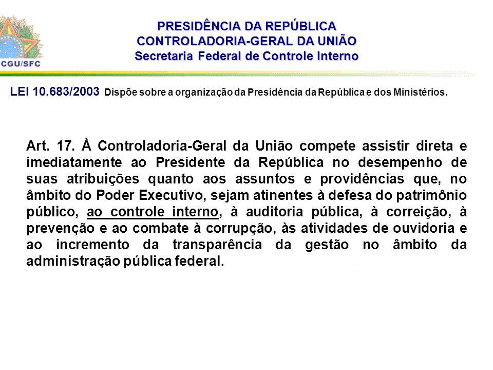 . PRESIDÊNCIA DA REPÚBLICA CONTROLADORIA-GERAL DA UNIÃO Secretaria Federal de Controle Interno Art. 17. À Controladoria-Geral da União compete assisti