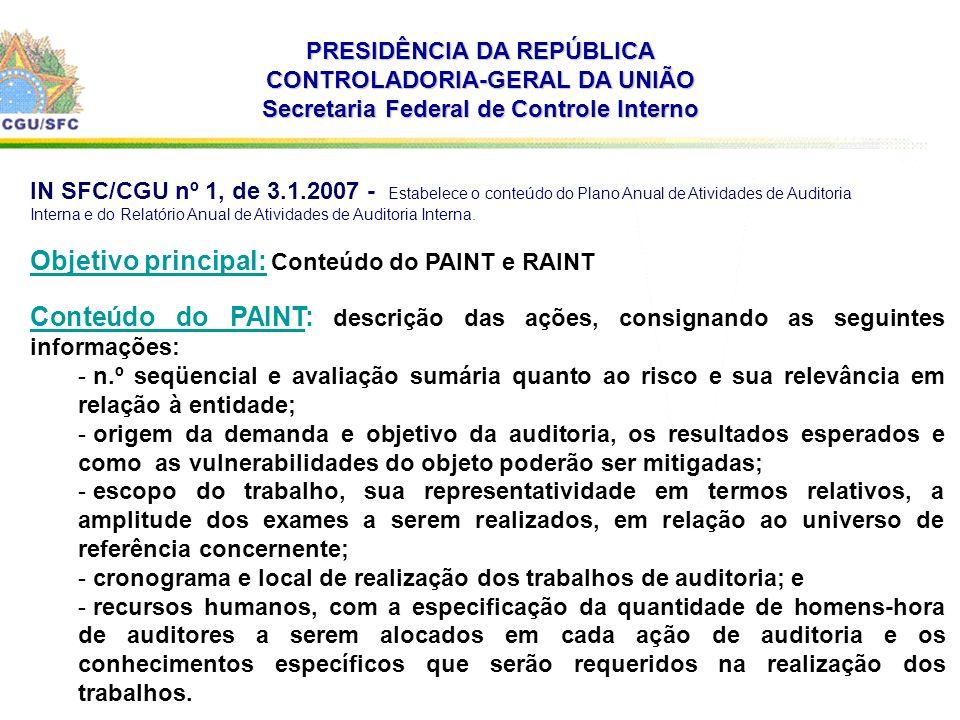 PRESIDÊNCIA DA REPÚBLICA CONTROLADORIA-GERAL DA UNIÃO Secretaria Federal de Controle Interno IN SFC/CGU nº 1, de 3.1.2007 - Estabelece o conteúdo do Plano Anual de Atividades de Auditoria Interna e do Relatório Anual de Atividades de Auditoria Interna.