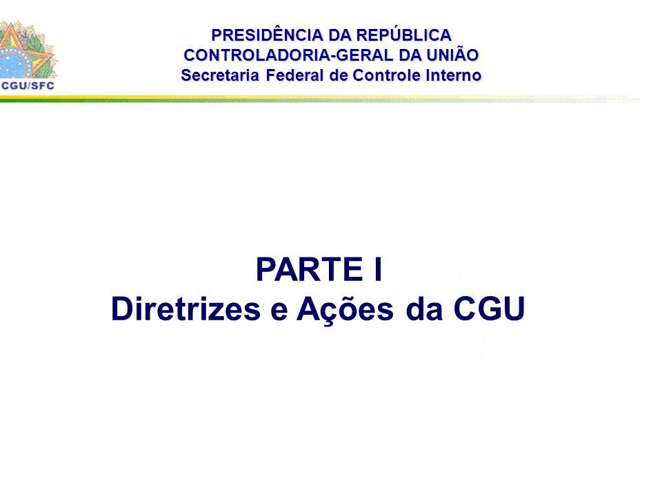 . PRESIDÊNCIA DA REPÚBLICA CONTROLADORIA-GERAL DA UNIÃO Secretaria Federal de Controle Interno PARTE I Diretrizes e Ações da CGU