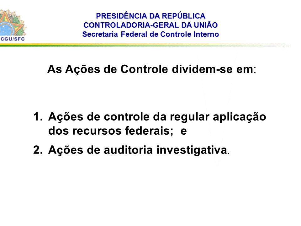 . PRESIDÊNCIA DA REPÚBLICA CONTROLADORIA-GERAL DA UNIÃO Secretaria Federal de Controle Interno As Ações de Controle dividem-se em: 1.Ações de controle da regular aplicação dos recursos federais; e 2.Ações de auditoria investigativa.