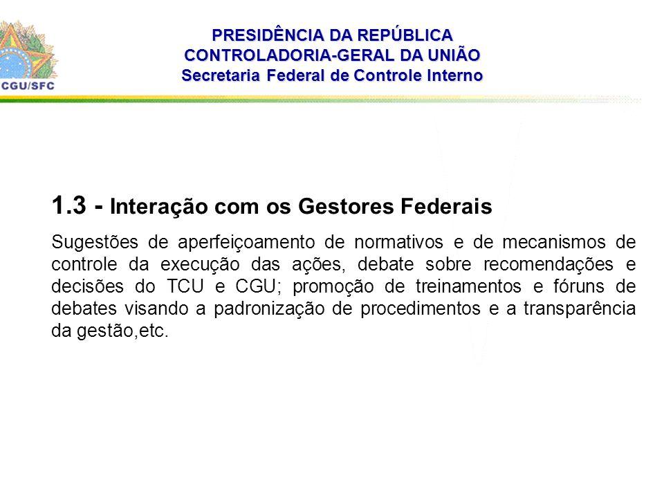 . PRESIDÊNCIA DA REPÚBLICA CONTROLADORIA-GERAL DA UNIÃO Secretaria Federal de Controle Interno 1.3 - Interação com os Gestores Federais Sugestões de a