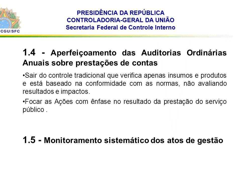 . PRESIDÊNCIA DA REPÚBLICA CONTROLADORIA-GERAL DA UNIÃO Secretaria Federal de Controle Interno 1.4 - Aperfeiçoamento das Auditorias Ordinárias Anuais