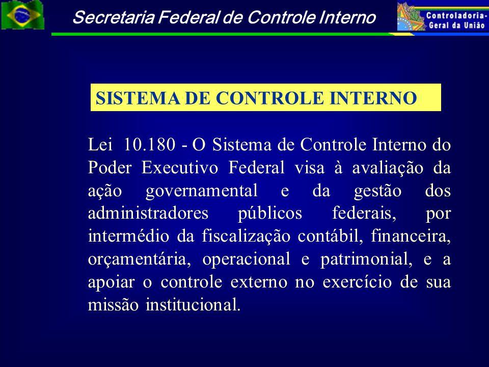Secretaria Federal de Controle Interno SISTEMA DE CONTROLE INTERNO Lei 10.180 - O Sistema de Controle Interno do Poder Executivo Federal visa à avalia