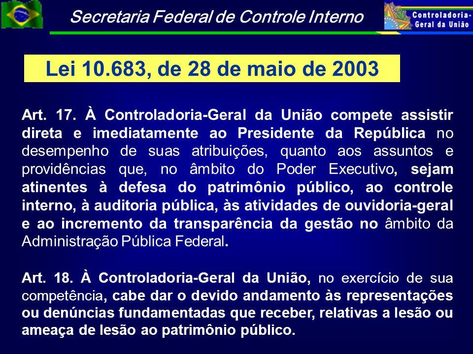 Secretaria Federal de Controle Interno Lei 10.683, de 28 de maio de 2003 Art. 17. À Controladoria-Geral da União compete assistir direta e imediatamen