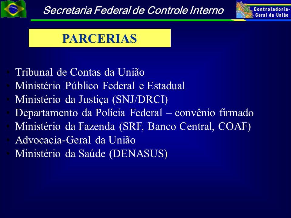 Secretaria Federal de Controle Interno Tribunal de Contas da União Ministério Público Federal e Estadual Ministério da Justiça (SNJ/DRCI) Departamento