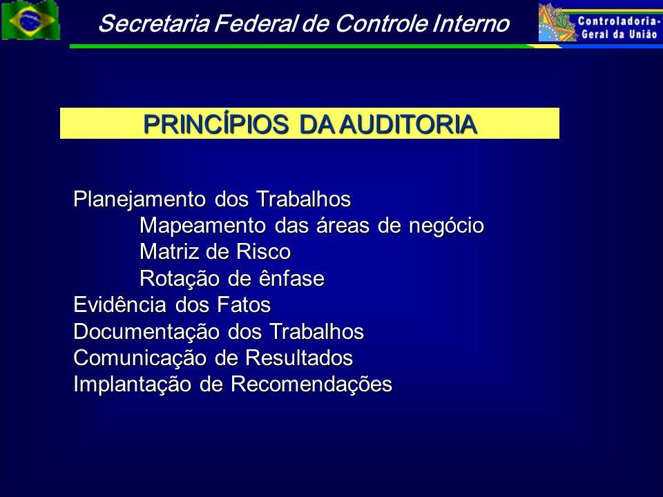 Secretaria Federal de Controle Interno PRINCÍPIOS DA AUDITORIA Planejamento dos Trabalhos Mapeamento das áreas de negócio Matriz de Risco Rotação de ê