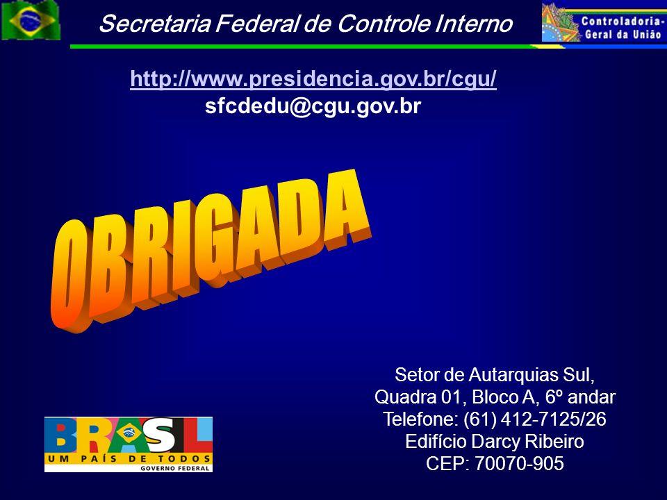 Secretaria Federal de Controle Interno Setor de Autarquias Sul, Quadra 01, Bloco A, 6º andar Telefone: (61) 412-7125/26 Edifício Darcy Ribeiro CEP: 70