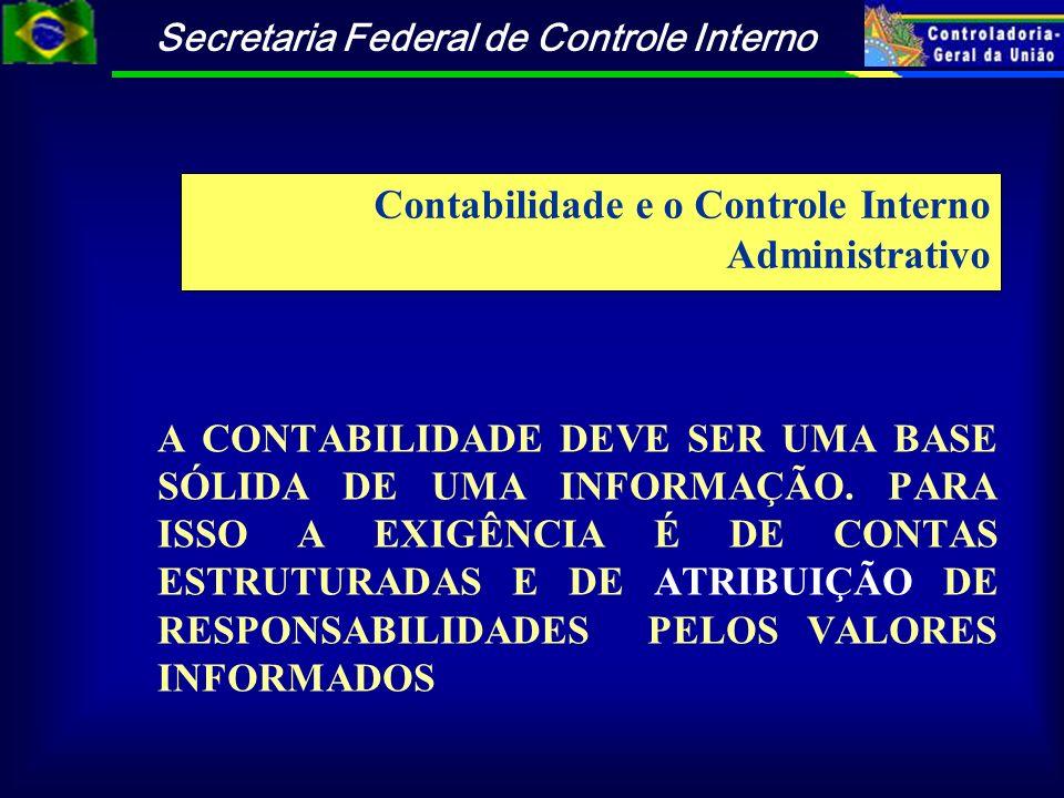 Secretaria Federal de Controle Interno A CONTABILIDADE DEVE SER UMA BASE SÓLIDA DE UMA INFORMAÇÃO. PARA ISSO A EXIGÊNCIA É DE CONTAS ESTRUTURADAS E DE