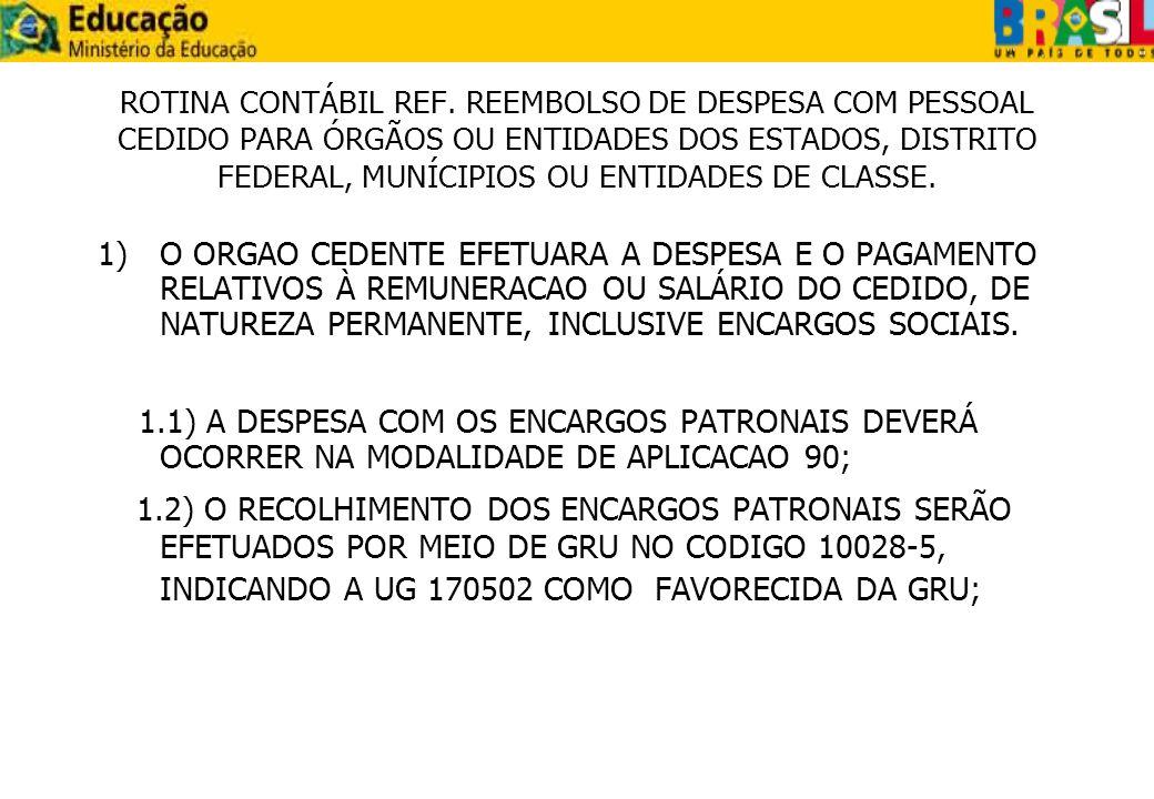 2) A ENTIDADE CESSIONARIA EFETUARÁ O REEMBOLSO DO VALOR DA DESPESA REALIZADA PELO ORGÃO CEDENTE POR MEIO DE GRU IMPRESSA NO SITIO DO TESOURO NACIONAL, INFORMANDO O CÓDIGO 68816-9.