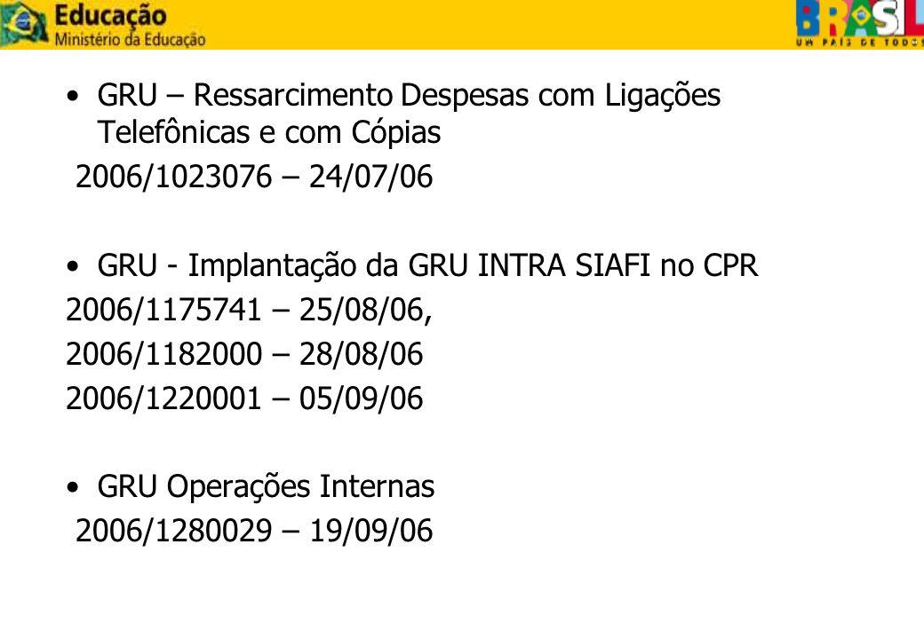 GRU – Ressarcimento Despesas com Ligações Telefônicas e com Cópias 2006/1023076 – 24/07/06 GRU - Implantação da GRU INTRA SIAFI no CPR 2006/1175741 –