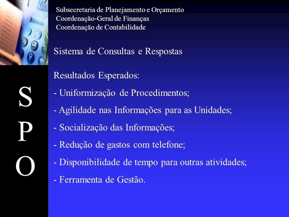 SPOSPO Sistema de Consultas e Respostas Resultados Esperados: - Uniformização de Procedimentos; - Agilidade nas Informações para as Unidades; - Social