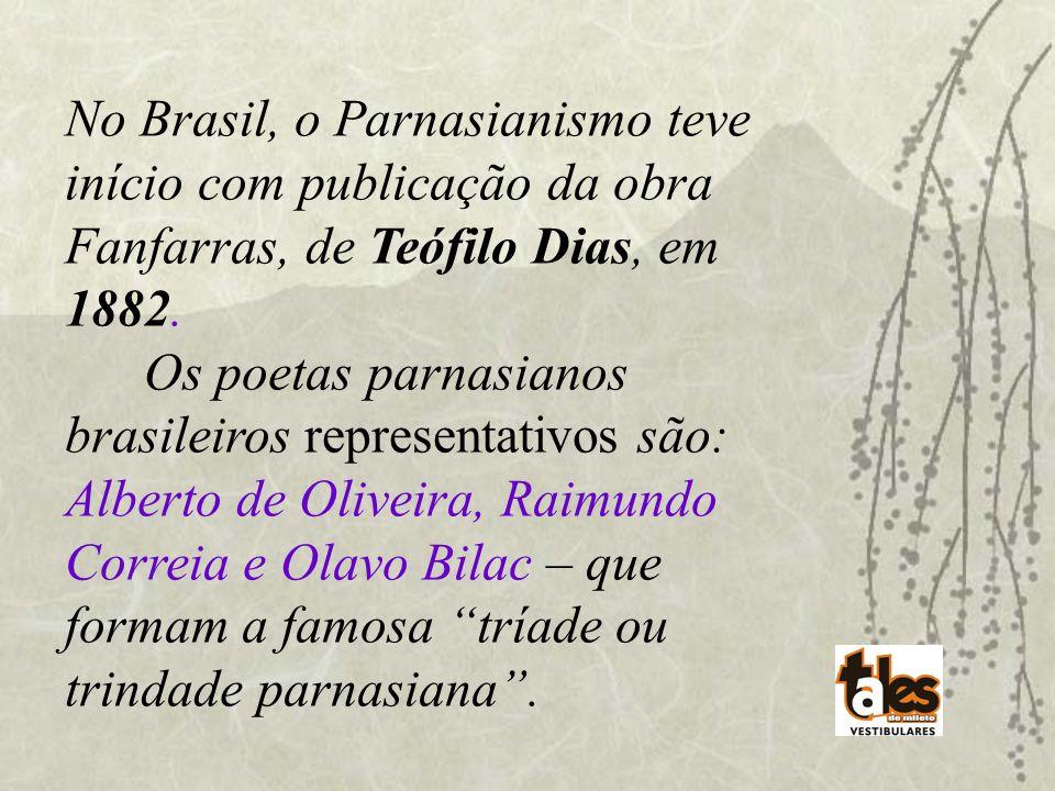 No Brasil, o Parnasianismo teve início com publicação da obra Fanfarras, de Teófilo Dias, em 1882. Os poetas parnasianos brasileiros representativos s