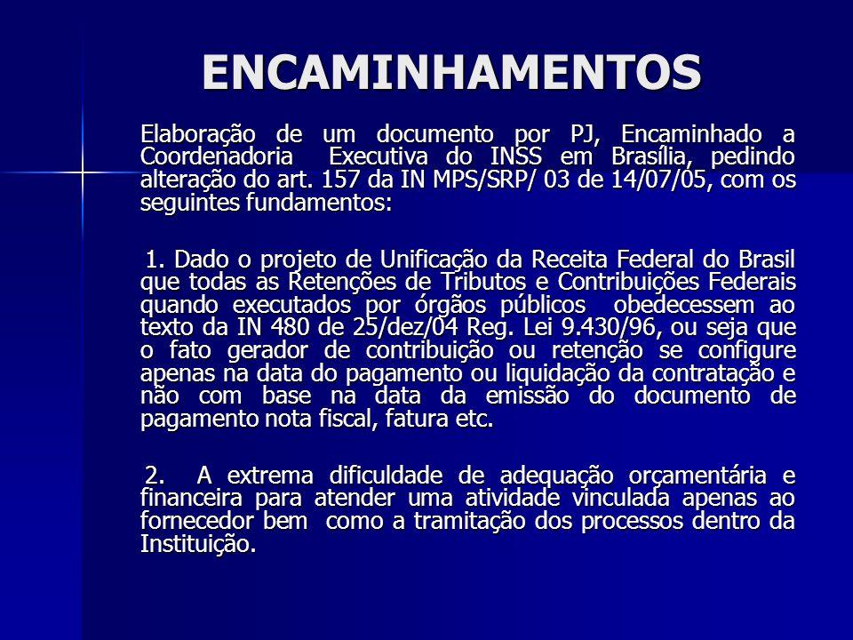 ENCAMINHAMENTOS Elaboração de um documento por PJ, Encaminhado a Coordenadoria Executiva do INSS em Brasília, pedindo alteração do art. 157 da IN MPS/