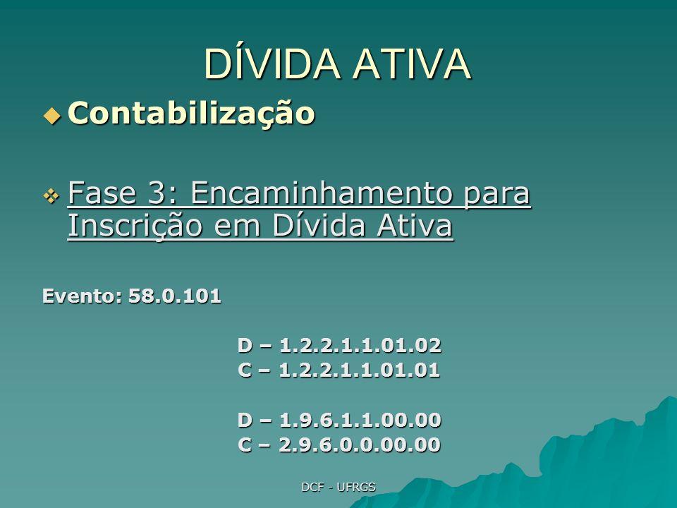 DCF - UFRGS DÍVIDA ATIVA Contabilização Contabilização Fase 4: o Órgão de inscrição aceita, ou não, o encaminhamento Fase 4: o Órgão de inscrição aceita, ou não, o encaminhamento Evento: 58.0.103 (Rejeição) D – 1.2.2.1.1.01.01 C – 1.2.2.1.1.01.02 D – 1.9.6.1.3.00.00 C – 1.9.6.1.1.00.00